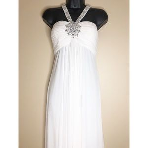 💥SALE💥 White Formal Dress with Crystal Detailing